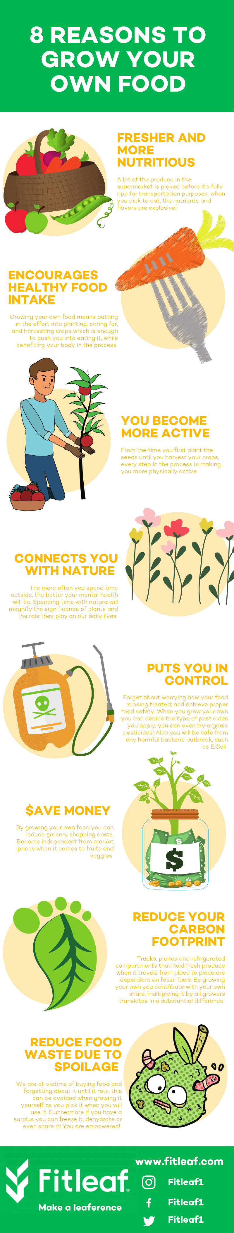 Inforgraphic illustrating the 8 benefits of growing your own food at home